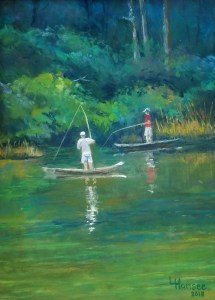 "Linda Hansee ""Fishing Buddies"" 12x9 pastel $350."