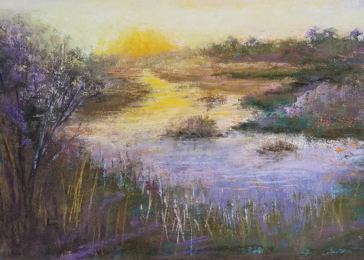 "Linda Hansee ""Golden Sunrise"" 9x12 pastel $395."