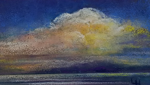 "Linda Hansee ""Golden Sunset"" 2.75x4.75 pastel $195."