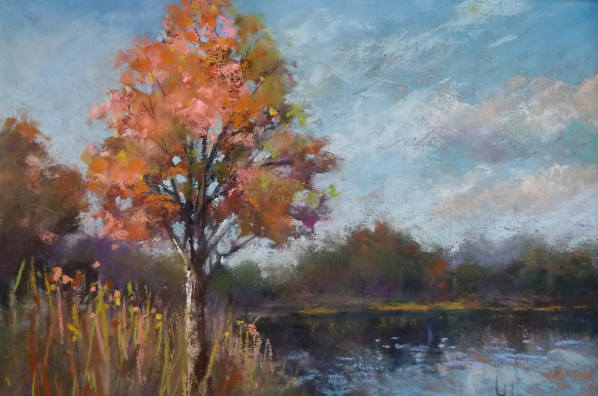 """Linda Hansee """"Maple Tree by the Pond"""" 6x9 pastel $250."""
