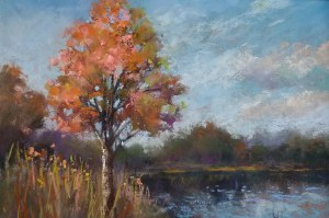 "Linda Hansee ""Maple Tree by the Pond"" 6x9 pastel $250."
