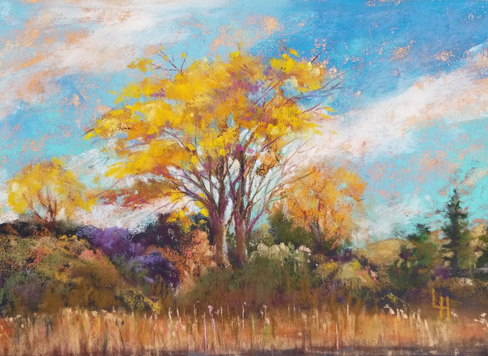 "Linda Hansee ""Marsh Trees"" 5.5x8 pastel $250. SOLD"