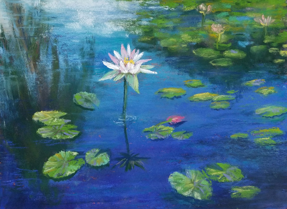 """Linda Hansee """"Pink Waterlily"""" 8x11 pastel $350."""