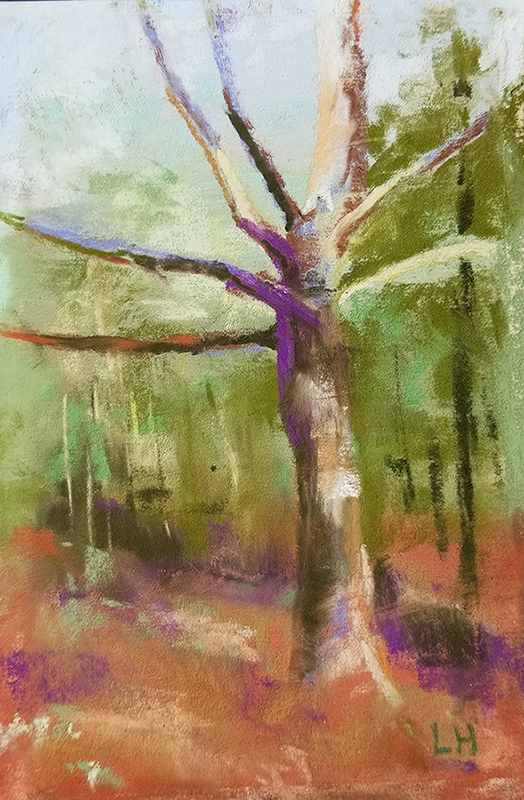 "Linda Hansee ""Reaching Upward"" 5.5x3.5 pastel $150."