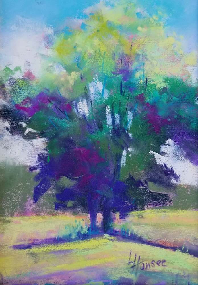 "Linda Hansee ""Tree in Summer"" (Summer Tree) 8x5.5 pastel $250."