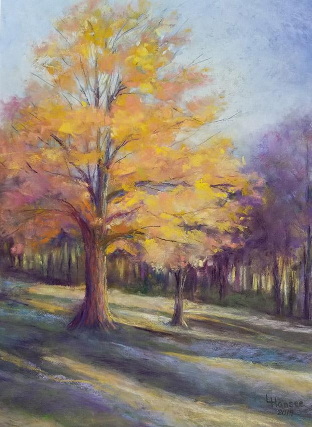 "Linda Hansee ""Sunlit Maple"" 15x11 pastel $450."