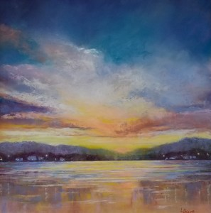"Linda Hansee ""Sunset with Shore Lights"" 16x16 pastel $695."
