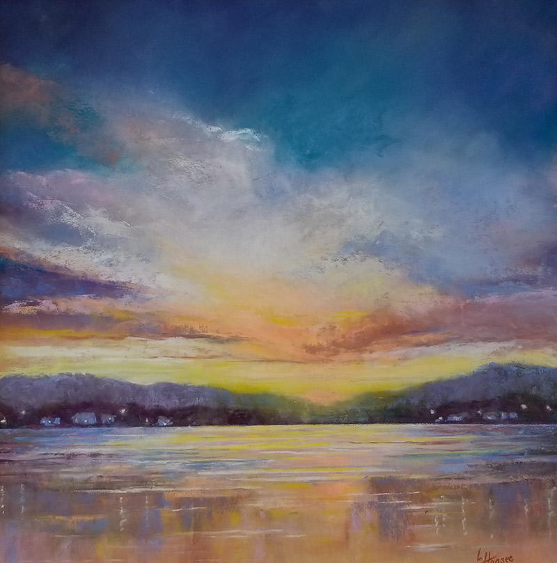 """Linda Hansee """"Sunset with Shore Lights"""" 16x16 pastel $695."""