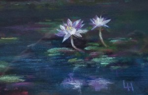 """Linda Hansee """"Water Lilies with Reflection"""" 3.5x5.5 pastel $195."""