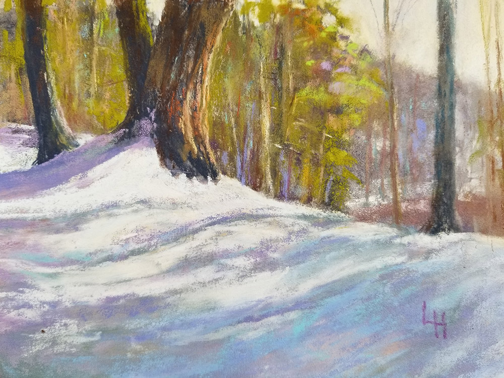 "Linda Hansee ""Winter Shadows"" 5.5x8 pastel $250."