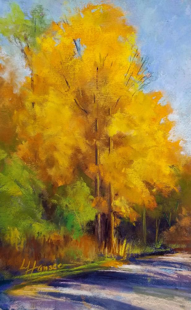 "Linda Hansee ""Yellow Maples"" 8x6 pastel $250."