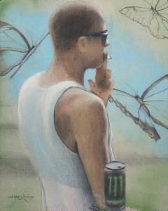 "Edd Tokarz Harnas ""Bystander Effect"" 10x8 pencil/acrylic on canvas $170."