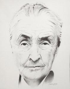 "Edd Tokarz Harnas ""Georgia O'Keeffe"" 14x11 ballpoint pen/paper $160. (unframed)"
