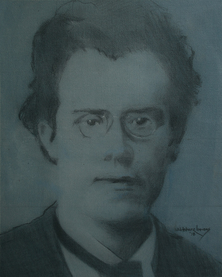"Edd Tokarz Harnas ""Gustav Mahler"" 10x8 pencil/acrylic on canvas $170."