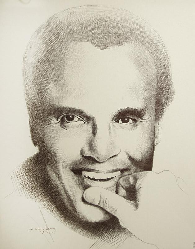 "Edd Tokarz Harnas ""Harry Belafonte"" 14x11 ballpoint pen/paper $160. (unframed)"