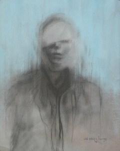 """Edd Tokarz Harnas """"Mark of Cain"""" 10x8 pencil/acrylic on gallery wrapped canvas $170."""