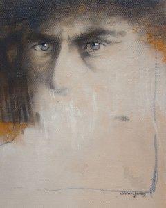 "Edd Tokarz Harnas ""Misophonia"" 10x8 pencil/acrylic on canvas $170."