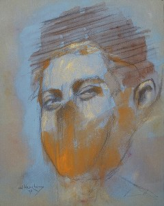 "Edd Tokarz Harnas ""Never Got a Ladmo Bag"" 10x8 pencil/acrylic on canvas $170."