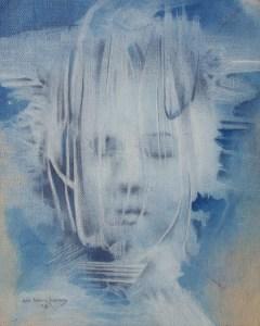 """Edd Tokarz Harnas """"Never You Mind"""" 10x8 pencil/acrylic on canvas $170."""