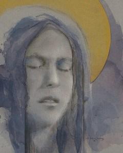 "Edd Tokarz Harnas ""Piety at any Price"" 10x8 pencil/acrylic on canvas $170."
