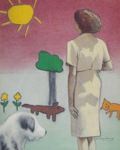 "Edd Tokarz Harnas ""Red Sky in the Morning"" 10x8 pencil/acrylic on canvas $170."