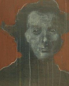 "Edd Tokarz Harnas ""Seen a Ghost"" 10x8 pencil/acrylic on canvas $170. SOLD"