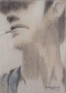 "Edd Tokarz Harnas ""The Smoking Thug"" 7x5 graphite/acrylic $80. SOLD"