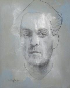 "Edd Tokarz Harnas ""The Social Brain Hypothesis"" 10x8 pencil/acrylic on canvas $170."
