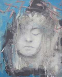 """Edd Tokarz Harnas """"Vision of Siobhan on the Base of a Lamp Post"""" 10x8 pencil/acrylic on canvas $170."""