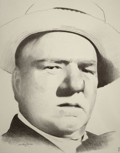 "Edd Tokarz Harnas ""William Claude Dukenfeld (WC Fields)"" 14x11 ballpoint pen/paper $160. (unframed)"