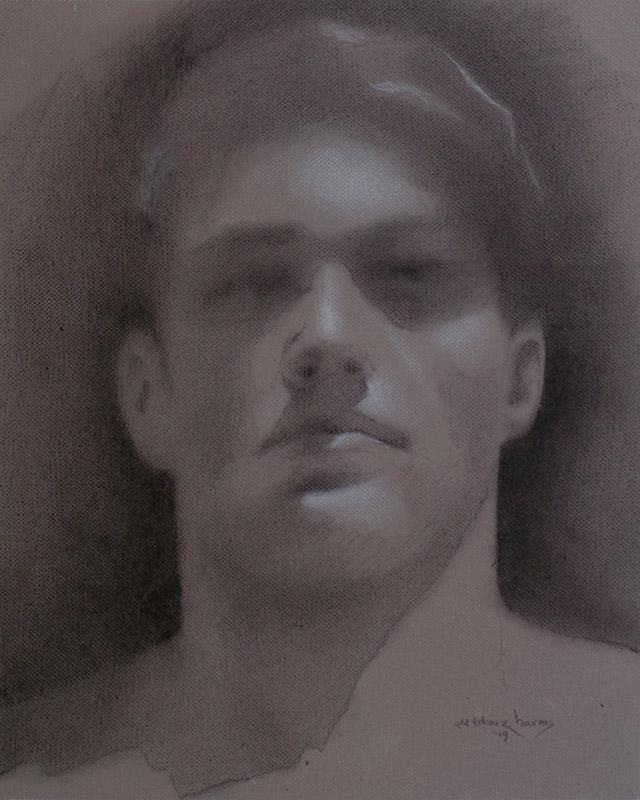 """Edd Tokarz Harnas """"Young Man's Face"""" 10x8 pencil/acrylic on canvas $170."""