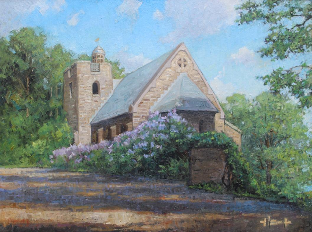 """Brian Hart """"Chapel on the Hill - Garrett Chapel"""" 12x16 oil $1,220."""
