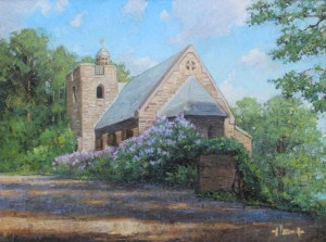 "Brian Hart ""Chapel on the Hill - Garrett Chapel"" 12x16 oil $1,220."