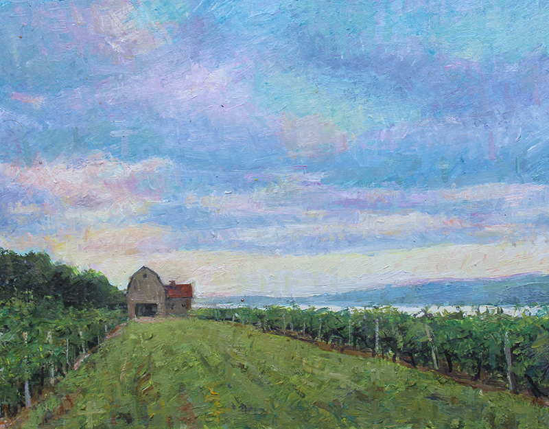 "Brian Hart ""Hillside Vineyard"" 6x9 oil $500."