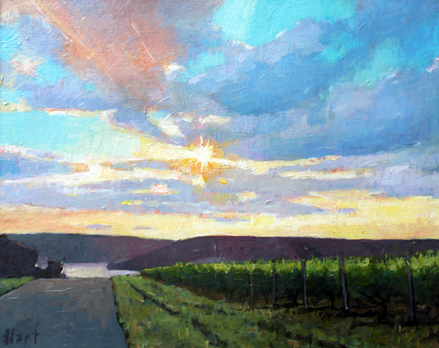 "Brian Hart ""Keuka Sundown"" 11x15 acrylic $550. SOLD"