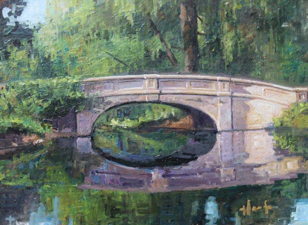"Brian Hart ""Old Denison Park Bridge - Summer"" 8x11 oil $800. SOLD"