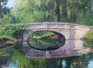 "Brian Hart ""Old Denison Park Bridge - Summer"" 8x11 oil $800. SOLD"
