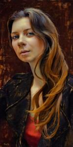 """Dana Hawk """"The French Girl II"""" 24x12 oil $1,850."""