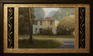 "David Higgins ""Yellow House with Side Panels"" 13x23 oil $1,500."
