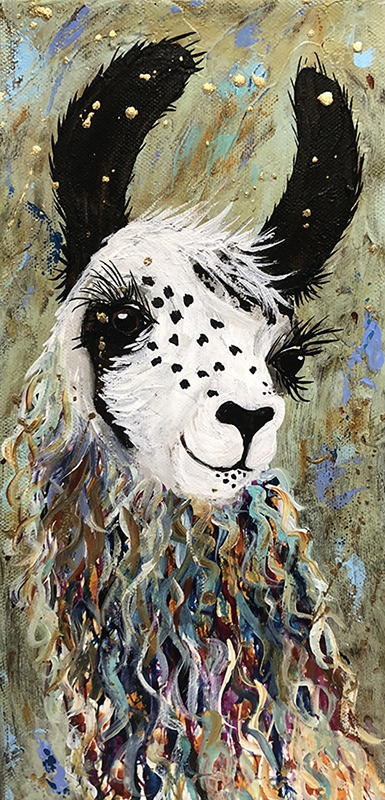 "Amy Hutto ""Ande"" 12x6 gallery wrap acrylic/gold leaf $250."