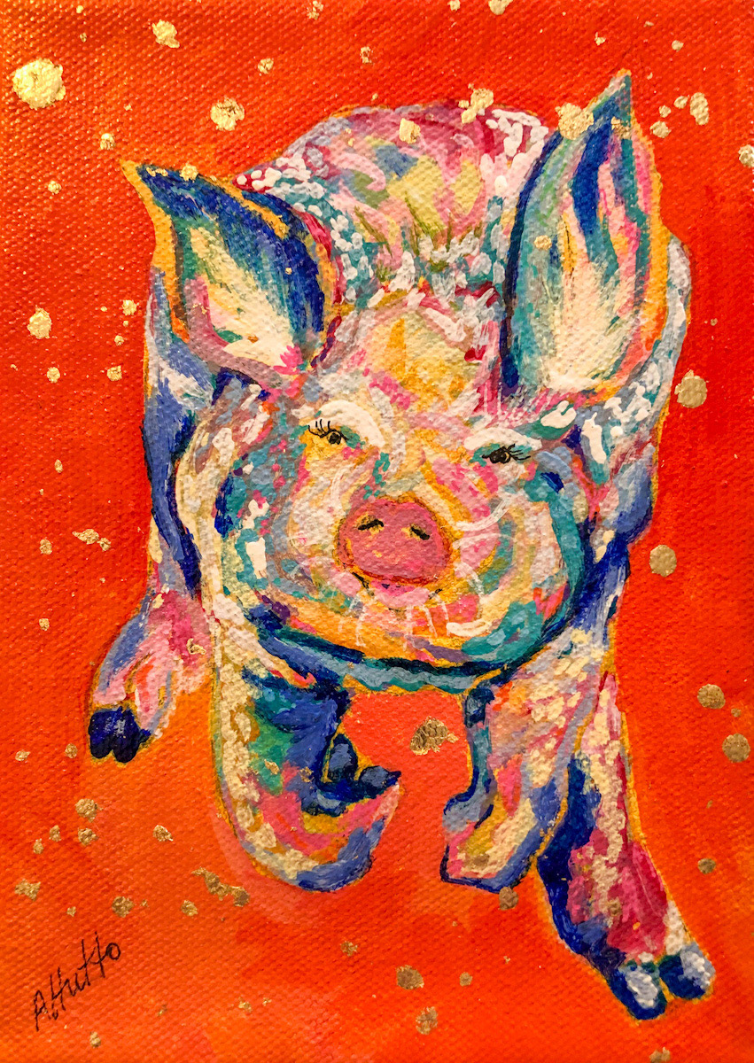 """Amy Hutto """"Dinnerbell"""" 7x5 acrylic/gold leaf $195. gallery wrap"""