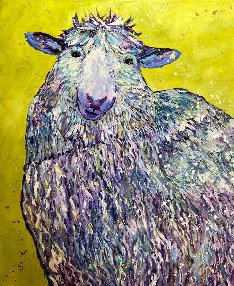 """Amy Hutto """"Ewe Complete Me"""" 24x20 acrylic/gold leaf $695. gallery wrap"""