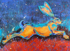 "Amy Hutto ""Full Speed Ahead"" 18x24 acrylic/gold leaf $650. gallery wrap"