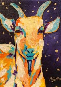 """Amy Hutto """"G.O.A.T"""" 7x5 acrylic/gold leaf $195. gallery wrap"""
