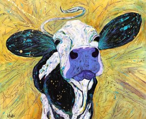 "Amy Hutto ""Holy Cow - yellow"" 20x24 acrylic/gold leaf $695. gallery wrap"
