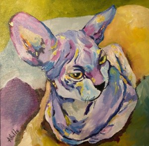 """Amy Hutto """"No Hair - Don't Care"""" 8x8 oil and gold leaf $325."""