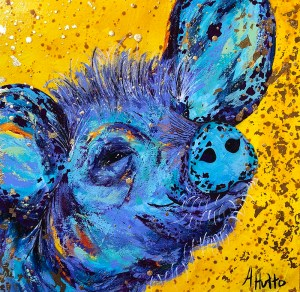 "Amy Hutto ""Freckles - Pig"" 12x12 acrylic/gold leaf $325."