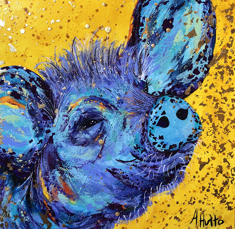 "Amy Hutto ""Freckles - Pig"" 12x12 acrylic/gold leaf $325. SOLD"