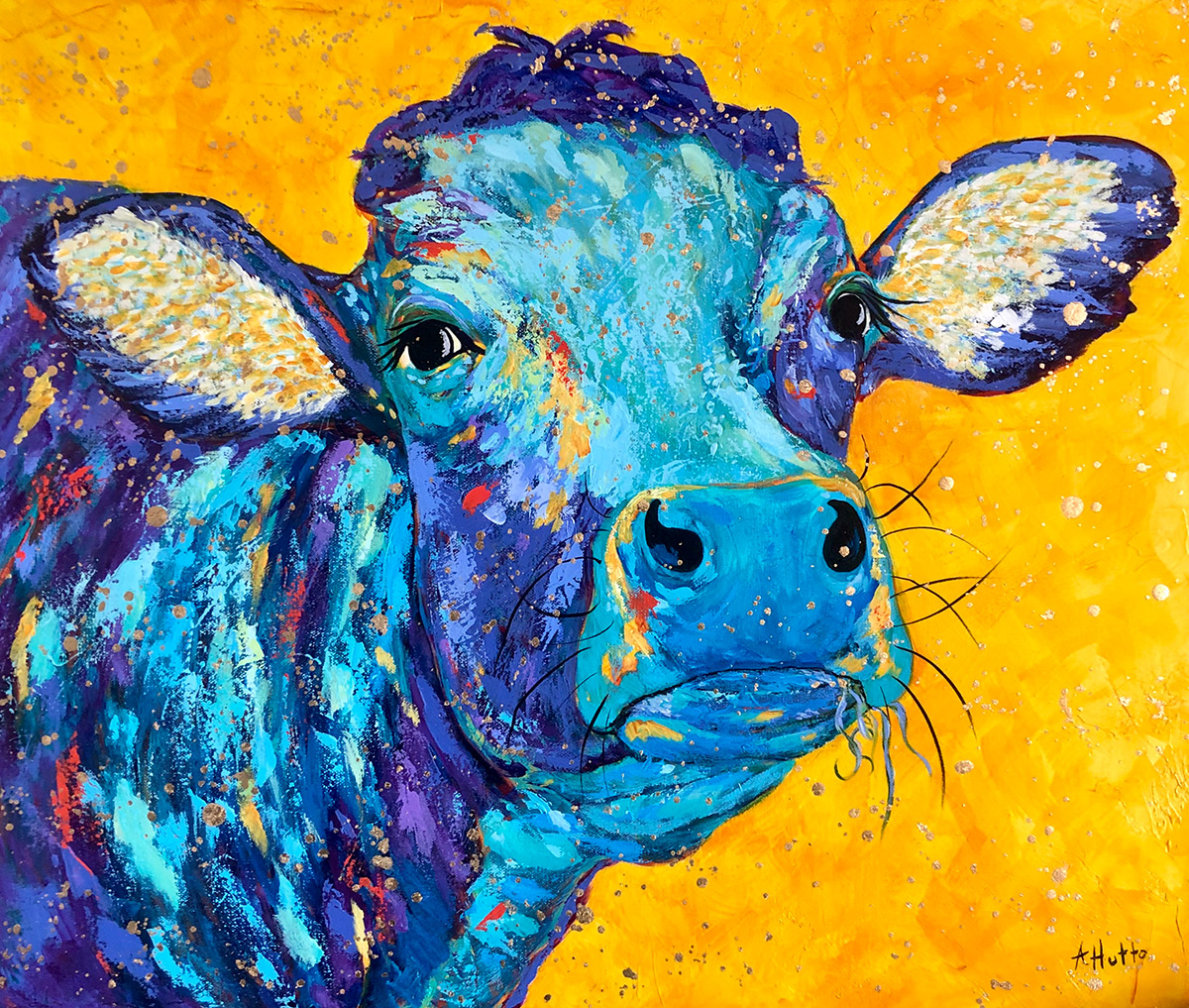 "Amy Hutto ""Sweet Moo"" 20x24 acrylic/gold leaf $695. gallery wrap"