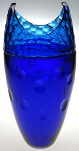 """Aaron Jack """"Blue Cut Vase"""" blown & cold-worked glass $1,200."""